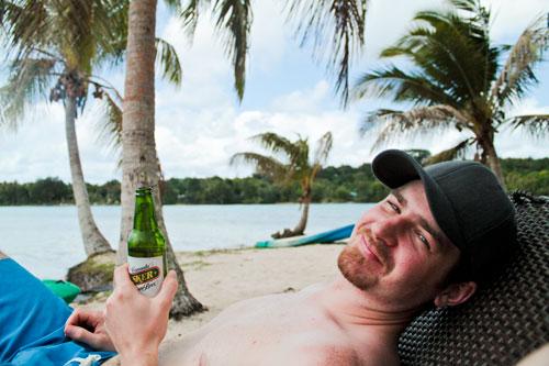 Drinking a Tusker on Erakor Island, Vanuatu